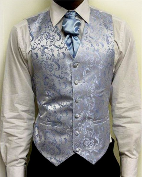 silver and blue waistcoat