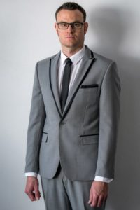 grey and black suit