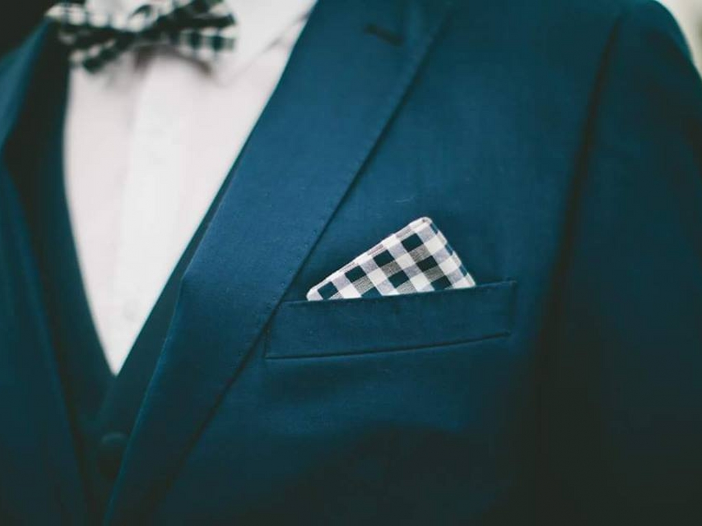 close up of suit pocket with handkerchief