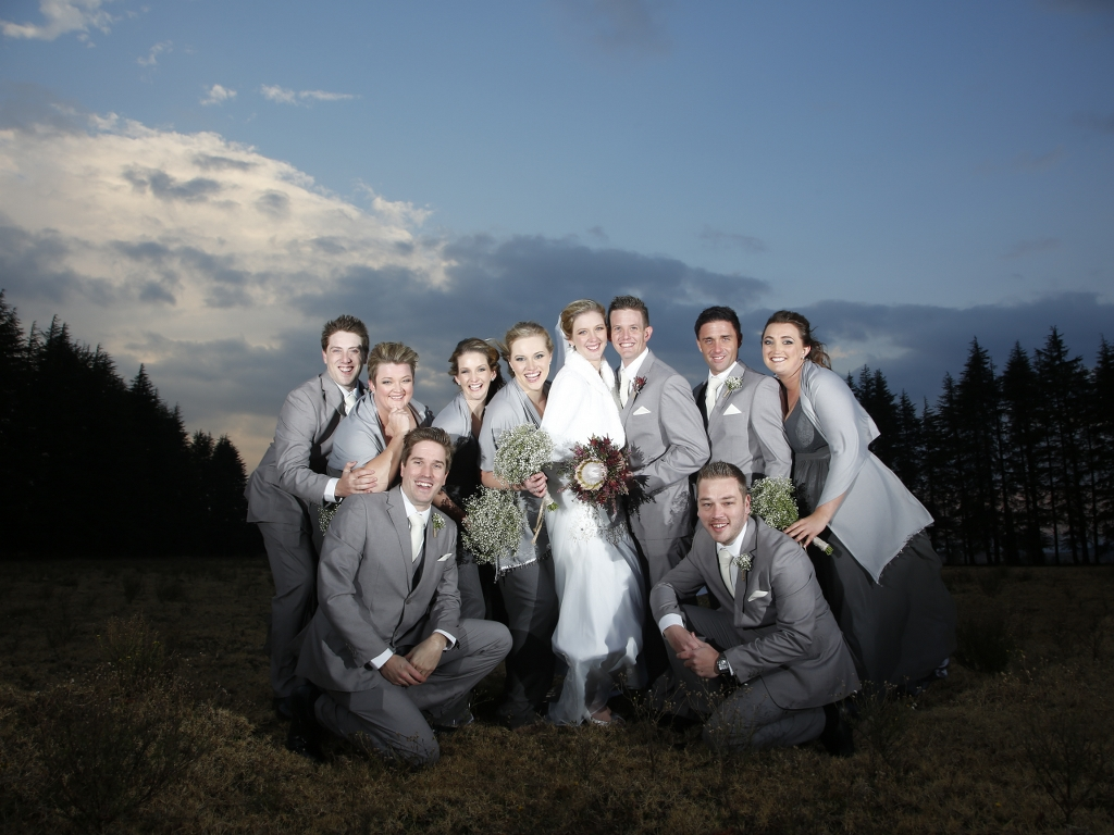 wedding photo with groomsmen and bridesmaids